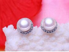 9mm Sterling Silver Freshwater Pearl Cubic Zirconia Round Stud Earrings Gift J18