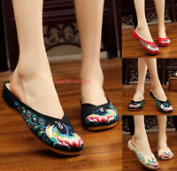 Women Chinese Embroidered Flat Shoes Slippers Comfort Handmade Floral Cloth Shoe