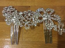 Wedding Bridal Rhinestone Flower Hair Comb in Sliver Clear Crystals HOT HA011-06