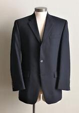 CHAPS 38R Mens suit jacket solid black 100% wool three button blazer coat