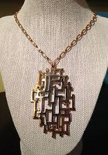 Sensational Vintage Napier Brutalist Pendant Necklace - Silver & Gold Tone Metal