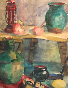 ANTIQUE WATERCOLOR PAINTING EXPRESSIONIST STILL LIFE WITH VESSELS AND GAS LAMP