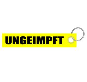 Ungeimpft ohne Stern Schlüsselanhänger Schlüsselband Lanyard aus Filz gelb 3x16