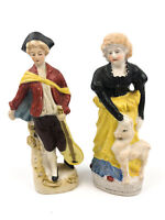 Occupied Japan A Boy and His Mother Bisque Porcelain Figurines Colonial English