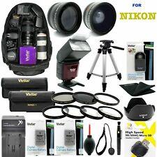 Nikon D3100 DSLR CAMERA FULL 52MM HD ACCESSORY KIT LENSES FLASH BACKPACK TRIPOD