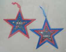 """Star Usa Fireworks Fourth of July Blue Red White 6"""" Wood Ornament Set 2 Gift"""