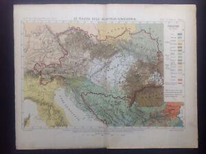 Antica carta geografica Razze Impero Austria Ungheria 1884