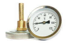 63mm HORIZONTAL DIAL THERMOMETER  TEMPERATURE GAUGE with  POCKET 0/120 C/F HVAC