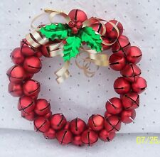 Jingle Bells Wreath Red Shiny Holiday Christmas Wall Door Decoration