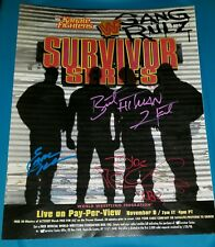 Autographed Shawn Michaels & Bret Hart & Earl Hebner  13X19 Survivor poster WWE