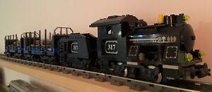 LEGO Eisenbahn 3740 Dampflok (schwarz) mit Tender und 9 V Motor, 2x 10013 Wagon
