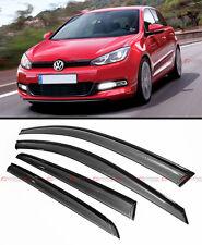 SMOKE TINTED CLIP ON WINDOW VISOR W/ BLACK TRIM FOR 2015-2019 VW MK7 GOLF GTI R