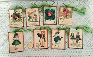 8~St Patrick's Day~Vintage~Ireland~Celtic~Linen Cardstock~Gift~Hang~Tags