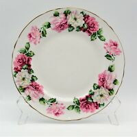 "Crown Staffordshire Bone China Trinity Rose 8 1/4"" Plate Vintage Smooth Rim"