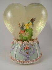 "Heart Shaped Amber Hummingbird Snow Globe Musical Plays ""You Light Up My Life"""