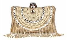 Anthony David USA Gold & Pearl Crystal Fringe Clutch Evening Bag