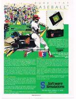 1988 Pure Stat Baseball Commodore 64 128 Apple IBM  Vtg Print Ad