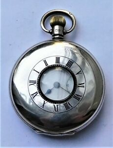 NO RESERVE HM1932 Half Hunter Silver Pocket Watch Vintage Antique