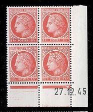 FRANCE - 1945 - N°676 1fr MAZELIN COIN DATÉ du 27.12.45 (1 point blanc) - TB
