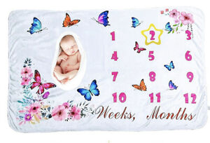 Baby Monthly Milestone Blanket - 100% Pure & Soft Polyester Fabric 40x60 Inches