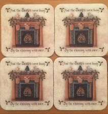 Longaberger Christmas Coasters! Beautiful Home Scene! Set Of 4 Brand New!