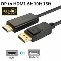 DisplayPort DP to HDMI 3FT 6FT 10FT 15FT PC Laptop HDTV Audio Video Cable 1080P
