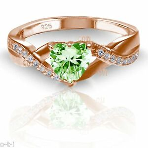 18k Rose Gold Plated Heart Peridot with Clear CZ Infinity Celtic Ring