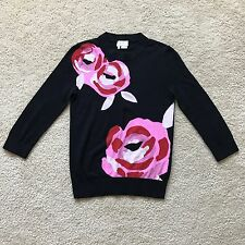 Kate Spade New York Black / Pink Flower Print Sweater Size XS Pre-owned