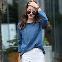 Bamboo Cotton T Shirt Women Button Pockets 2020 Autumn Long Sleeve Woman Clothes