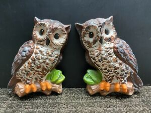 Lot of 2 Vintage Ceramic Owl Wall Hangings Art Plaques Hand Painted