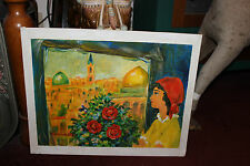 Vintage Oil Painting-Jewish Islamic-Girl Looking Out Window-Golden Dome-LQQK