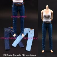 "1/6 Scale 3 Colors Female Skinny Jeans Trousers Pants with Belt For 12"" Figure"