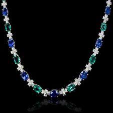 "31Ct Emerald ,Sapphire & Diamond 14k White Gold Over Tennis 16"" Estate Necklace"