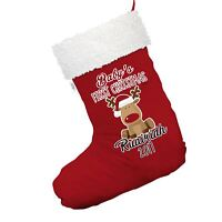 Personalised Baby First Christmas Rudolph Red Christmas Stocking With White Trim