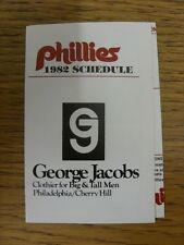 1982 Fixture Card: Baseball - Philadelphia Phillies (fold out style). Any faults