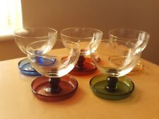 VINTAGE X5 HARLEQUIN GLASS FOOTED SUNDAE DESSERT DISHES WITH ATTACHED SAUCERS