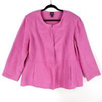Eileen Fisher Womens 2X Coat Pink Pockets Crew Neck Wool Blend Open Front Plus