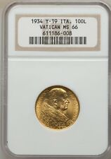 VATICAN CITY 1933-34  100 LIRE GOLD COIN, CHOICE UNCIRCULATED CERTIFIED NGC MS66