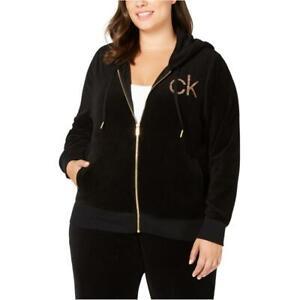 Calvin Klein Black Velour Zip Hoodie Jacket Gold Glitter CK Logo Womens Plus 3X
