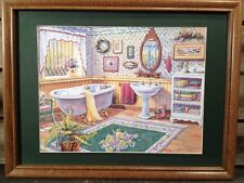 12 X 16 Matted And Framed Bathroom Print Country Picture