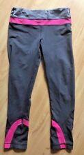 LULULEMON RUN INSPIRE CROP PANTS size 4  Gray w Pink Stripe Gym Running Race