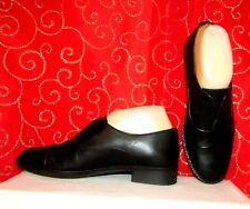NEW ALDO BLACK LEATHER SLIP ON LOAFERS W HIDDEN ELASTIC ON VAMP SZ 7/EUR SZ 37.5