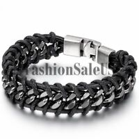 Men's Unique Leather Stainless Steel Braided Bracelet Bangle Cuff Metal Buckle