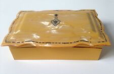 Vintage Amber Celluloid Hinged Jewelry Trinket Box Art Deco Scallop