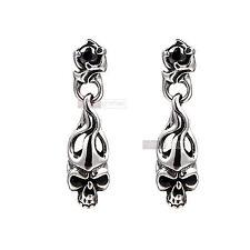 silver stud stainless steel black crystal vintage style skull earrings