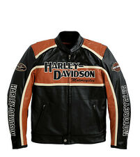 Harley Davidson Men's Classic Cruiser Orange Black Leather Jacket M 98118-08VM