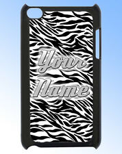 IPOD TOUCH 4 ZEBRA PRINT PERSONALISED  REAR COVER / CASE -GREAT GIFT & NAMED TOO