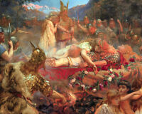 Funeral Of A Germanic Viking Warrior Painting 8x10 Real Canvas Fine Art Print
