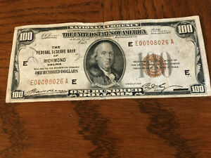 United States Series 1929 Federal Reserve $100 bill Richmond Virginia Brown Seal