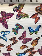 WHITE BUTTERFLY POLYESTER FABRIC (45 in.) Sold By The Yard